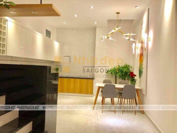 Không gian phòng ăn và bếp được tối giản nội thất