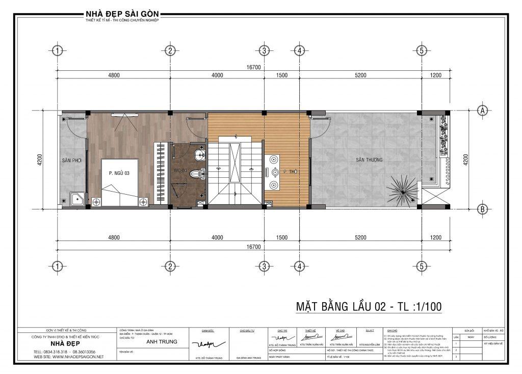 thiết kế nhà phố 2.5 tầng