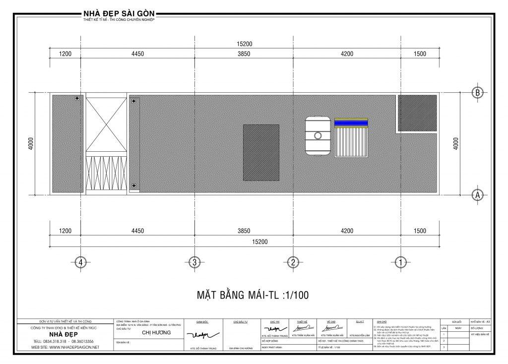 Thiết kế nhà 4x14 mái
