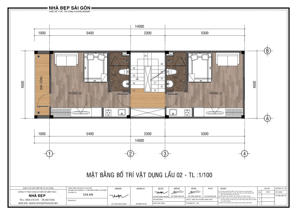 Thiết kế nhà 4.5x14 tầng 2