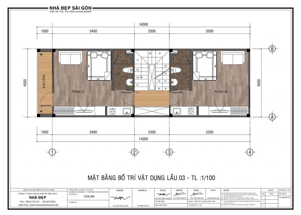 Thiết kế nhà 4,5x14 tầng 3