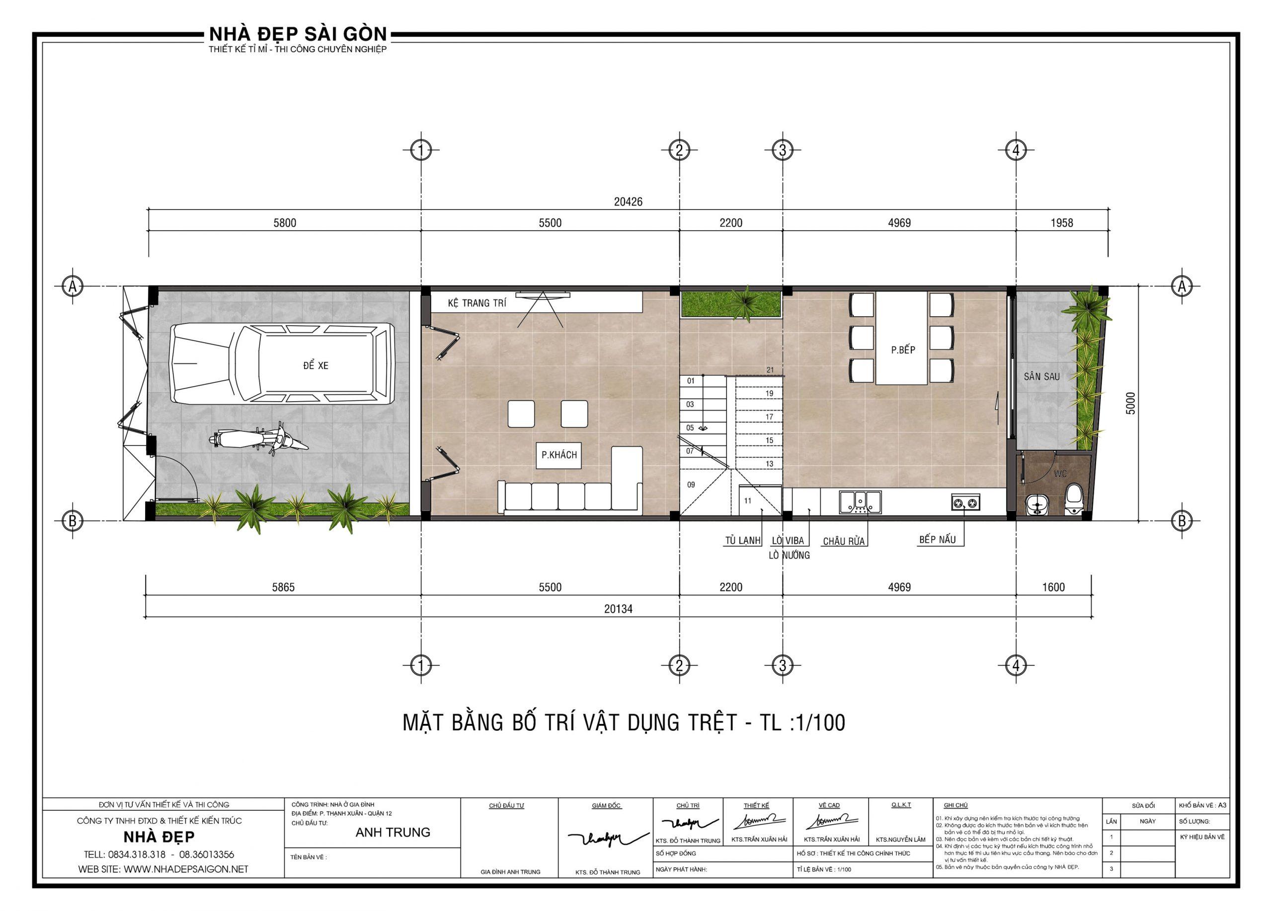 Tư vấn thiết kế nhà 5x20 cho gia đình trẻ. tầng 1