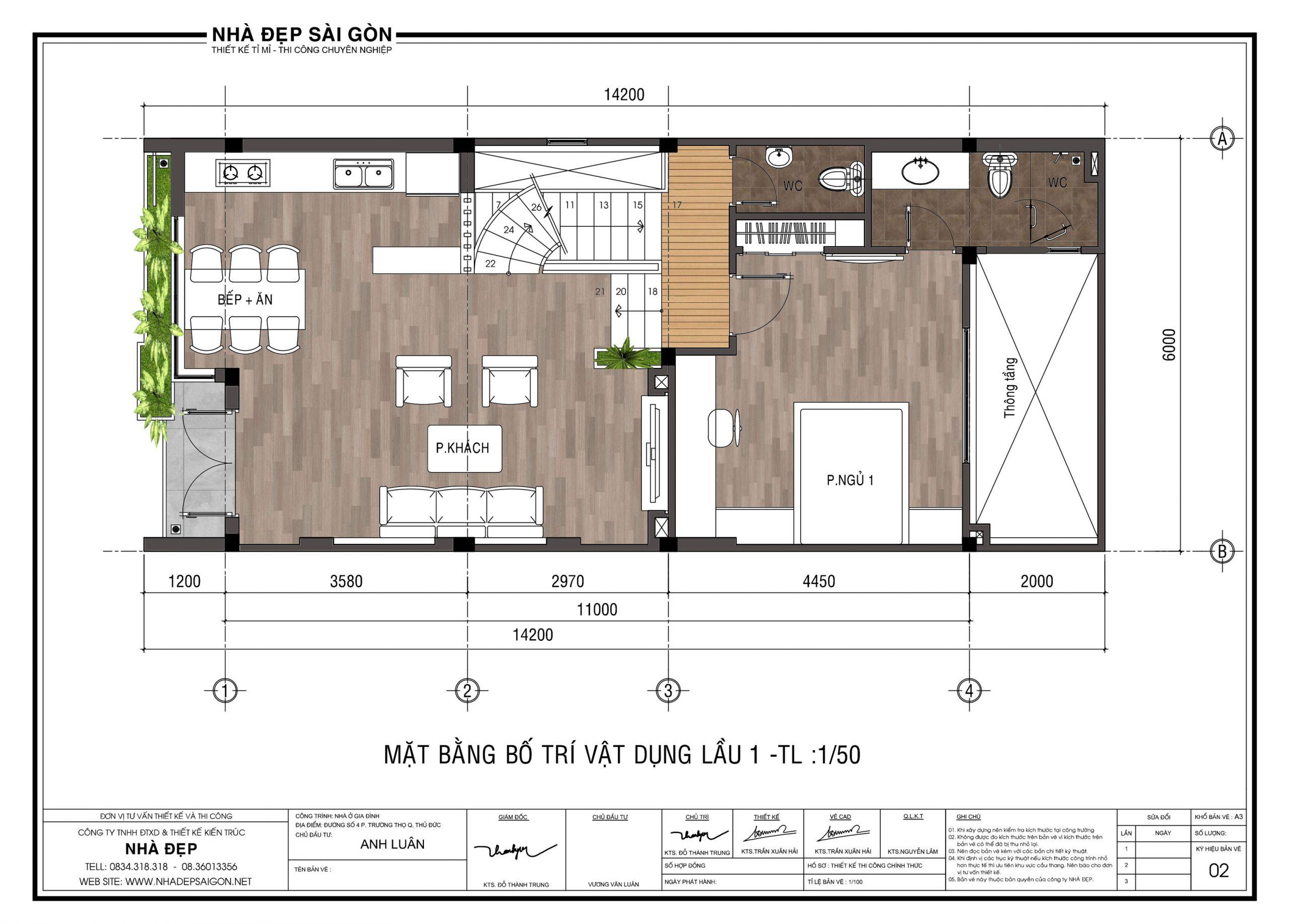 mặt bằng Thiết kế nhà phố 6x13 lệch tầng lầu 1