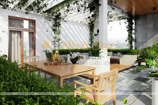 Hành lang tầng 2 và 3 tạo nên một không gian xanh cho ngôi nhà