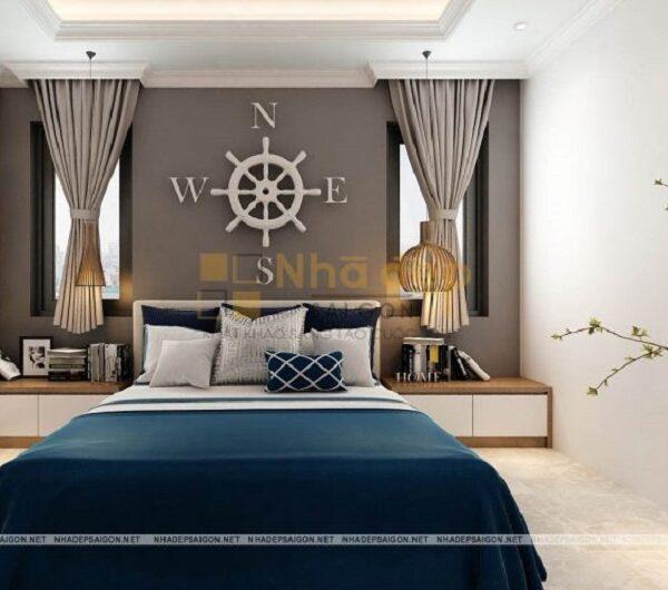 Phòng ngủ thứ 3 là sự phối hợp giữa các gam màu trung tính kết hợp với màu xanh tạo cho căn phòng có sức sống và năng động.