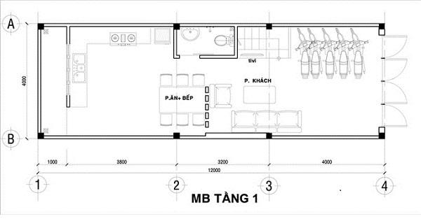 Mẫu nhà 4x12 – bố trí mặt bằng tầng 1