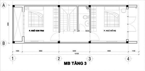 Mẫu nhà 4x12 – bố trí mặt bằng tầng 3