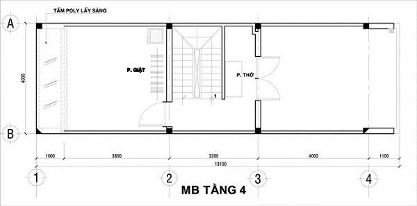 Mẫu nhà 4x12 – bố trí mặt bằng tầng 4