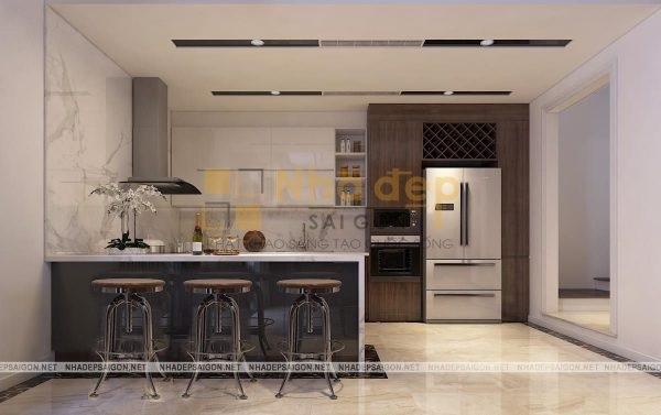 Mẫu nhà 4x14 – không gian phòng bếp