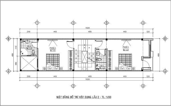 Mẫu nhà 4x15 – thiết kế lầu 2