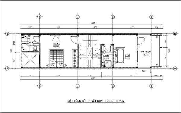 Mẫu nhà 4x15 – thiết kế lầu 3