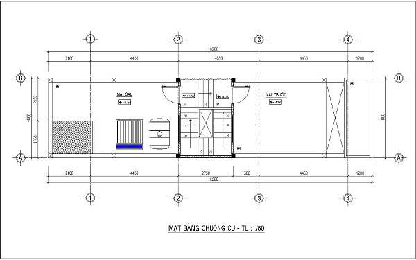 Mẫu nhà 4x15 – thiết kế lầu 4
