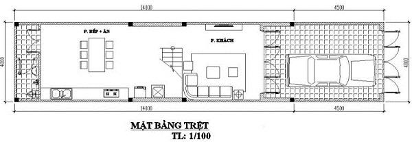 Mẫu nhà 4x14 – thiết kế tầng trệt