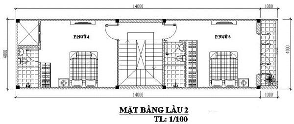Mẫu nhà 4x14 – thiết kế lầu 2