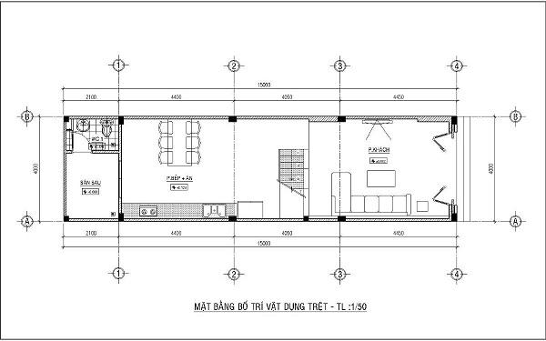 Mẫu nhà 4x15 – thiết kế tầng trệt
