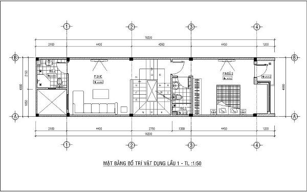 Mẫu nhà 4x15 – thiết kế lầu 1