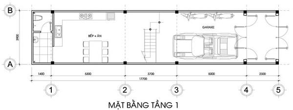 Mẫu nhà 14x17 phong cách hiện đại có tầng tum – bố trí mặt bằng tầng 1