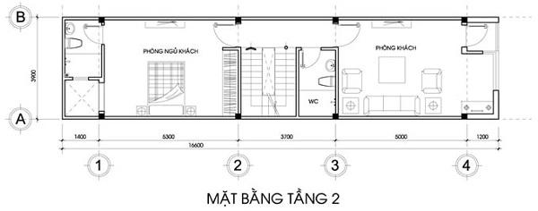 Mẫu nhà 14x17 phong cách hiện đại có tầng tum – bố trí mặt bằng tầng 2