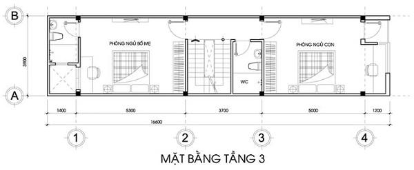 Mẫu nhà 14x17 phong cách hiện đại có tầng tum – bố trí mặt bằng tầng 3