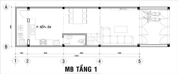 Mẫu nhà 14x17 phong cách hiện đại – bố trí mặt bằng tầng 1