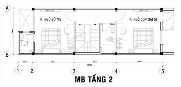 Mẫu nhà 14x17 phong cách hiện đại – bố trí mặt bằng tầng 2