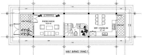 Mẫu nhà 14x17 phong cách kiểu pháp – bố trí mặt bằng tầng 1