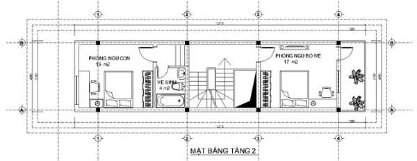 Mẫu nhà 14x17 phong cách kiểu pháp – bố trí mặt bằng tầng 2 và 3