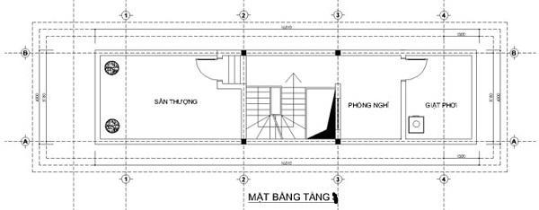 Mẫu nhà 14x17 phong cách kiểu pháp – bố trí mặt bằng tầng 4