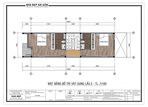 Mẫu nhà 4x20- bố trí mặt bằng lầu 2, 3 và 4