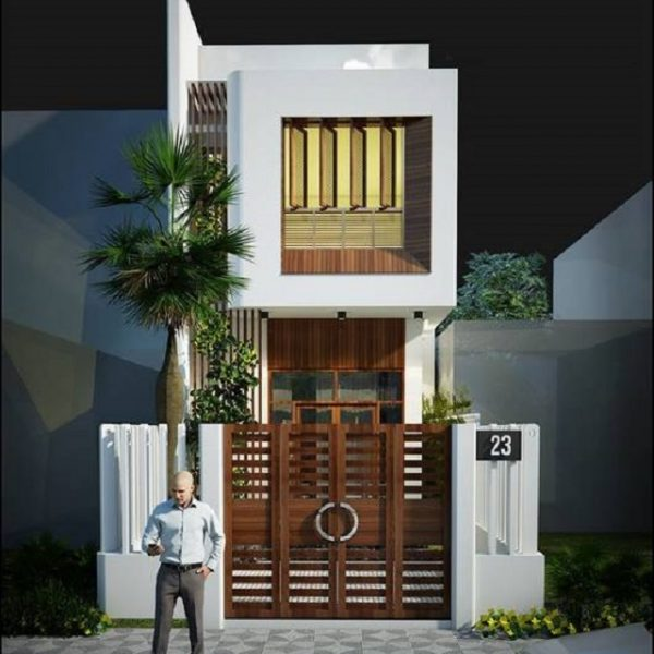 Mẫu nhà 5x10 sử dụng gỗ làm hệ thống cửa