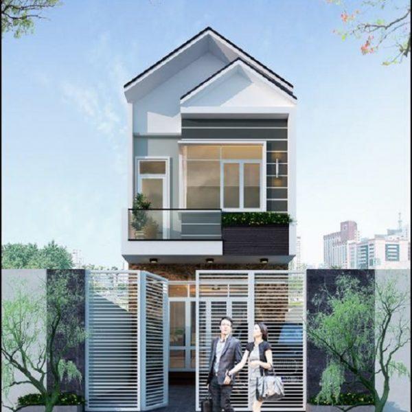 Hình ảnh mặt tiền của mẫu nhà 5x12 2 tầng kiến trúc hiện đại, dùng mái thái