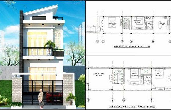 Mẫu nhà 5x12, 2 tầng 3 phòng ngủ, 1 phòng thờ