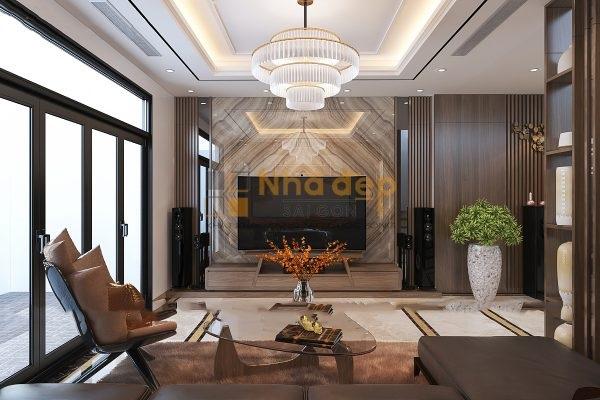 Mẫu nhà 5x14 – sử dụng đèn chùm để tạo điểm nhấn cho phòng khách