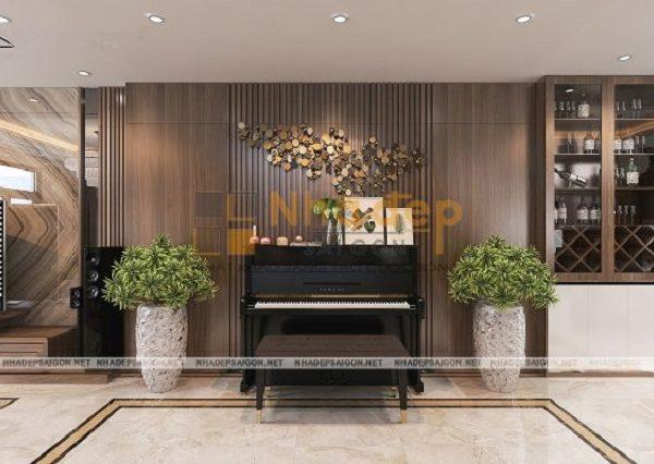 Chiếc đàn piano vừa là để thư giãn vừa là để trang trí cho phòng khách