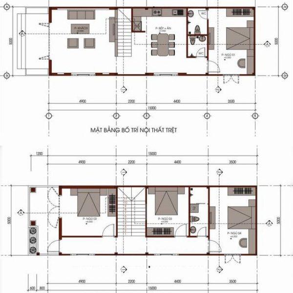 Ví dụ bản thiết kế bố trí nội thất được tối ưu cho mẫu nhà 5x15