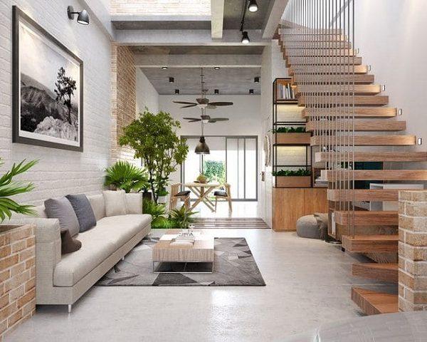 Mẫu nhà 5x16 thiết kế lệch tầng tạo không gian ngôi nhà thông thoáng hơn