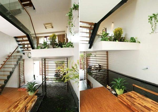 Mẫu nhà 5x16 lệch tầng dễ thiết kế tiểu cảnh