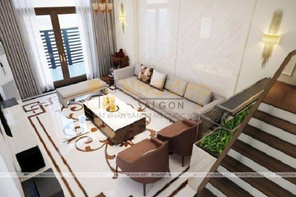 Mẫu nhà 5x17 – không gian phòng khách