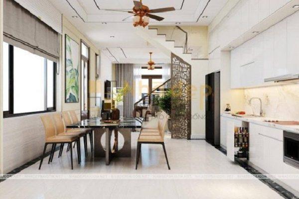 Mẫu nhà 5x17 – không gian phòng bếp được thông suốt với phòng khách