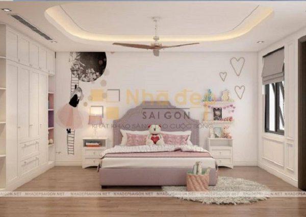 Mẫu nhà 5x17 - Phòng ngủ của con được thiết kế tươi sáng và trẻ trung hơn.