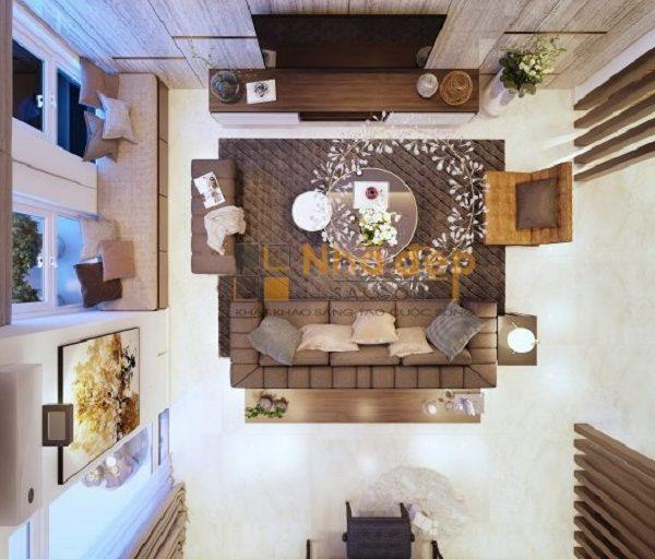 Nhìn từ trên cao xuống, căn phòng ngoài việc phối màu hợp lý còn thấy được sự nhẹ nhàng và ấm cúng