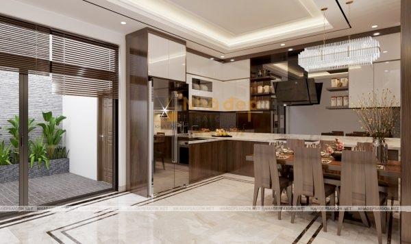 Tủ bếp chữ L nhằm tiết kiệm diện tích cho không gian phòng bếp