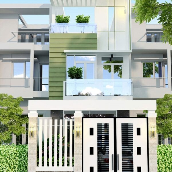 Mẫu nhà 6x13 – Thiết kế hiện đại theo mái bằng, mặt sàn và hành lang sử dụng màu gỗ để tạo cho ngôi nhà được mát mẻ về mùa nắng