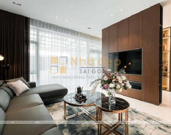 Không gian phòng khách được thiết kế nội thất hiện đại và tiện nghi