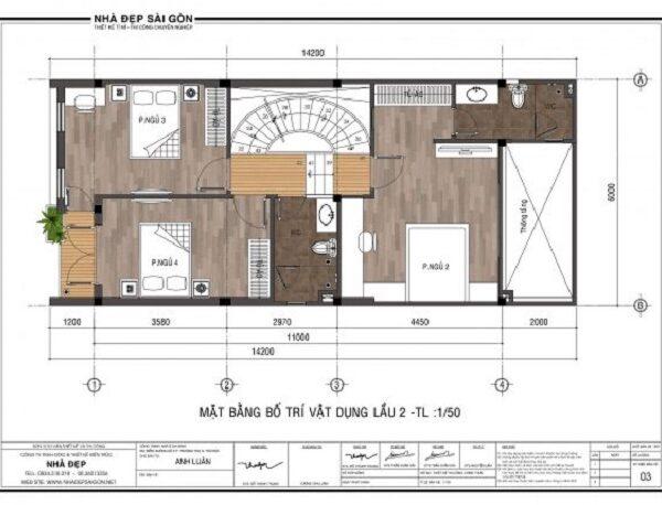 Mẫu nhà 6x14 – mặt bằng bố trí vật dụng lầu 2