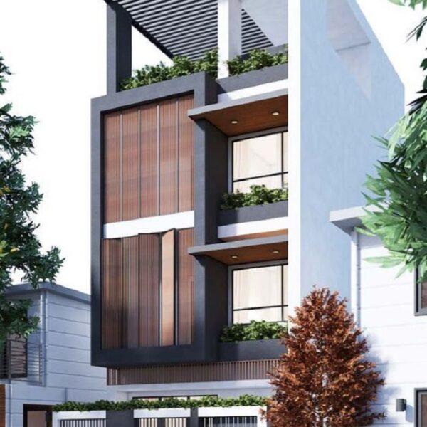 Mặt tiền ngôi nhà được sử dung nguyên liệu chính bằng gỗ, vừa tạo nên nét hiện đại, vừa tạo nên có cổ điển cho ngôi nhà