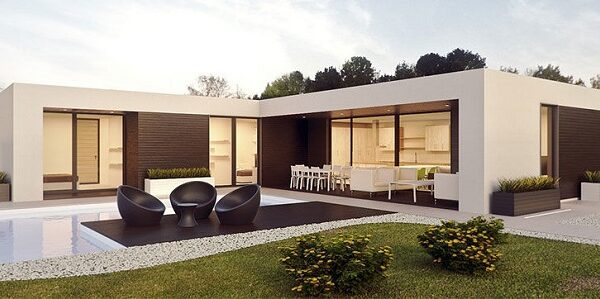 Hình dáng ngôi nhà L khá đặc biệt – mặt tiền được thiết kế đơn giản