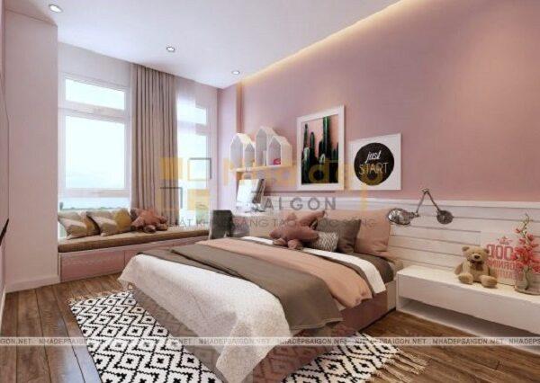 Mẫu 10: phòng ngủ phong cách hiện đại – phòng có màu hồng làm chủ đạo vừa hiện đại vừa nhẹ nhàng.