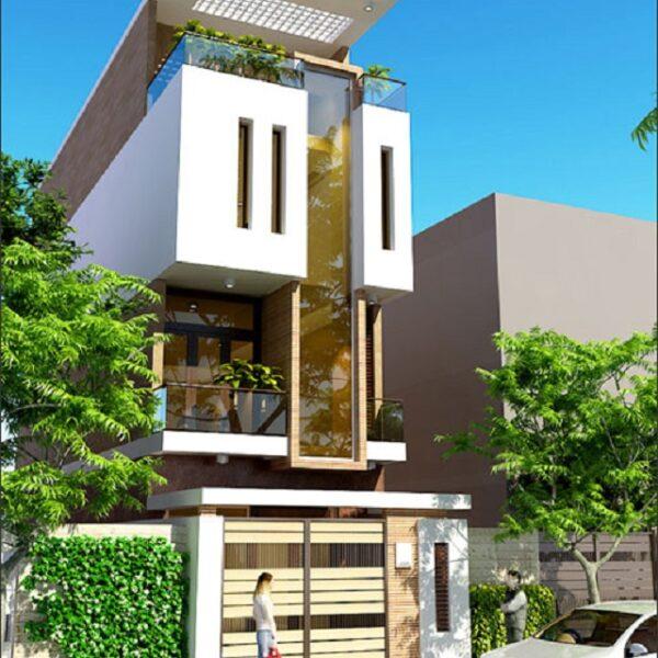 Đây là ngôi nhà có mặt tiền khá đặc biệt, sử dụng kính cường lực làm lan can ban công và hành lang cầu thang nên tận dụng được ánh sáng tự nhiên tối đa