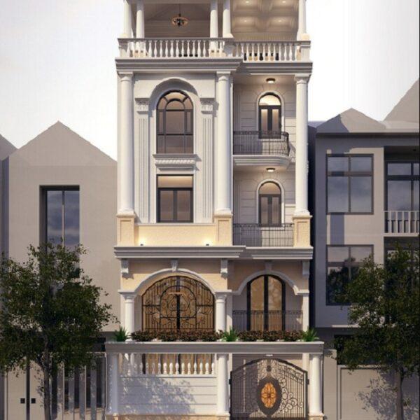 Mẫu nhà 6x18 – thiết kế 4 tầng với phong cách tân cổ điển